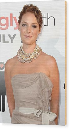 Katherine Heigl Wearing A Joan Hornig Wood Print by Everett