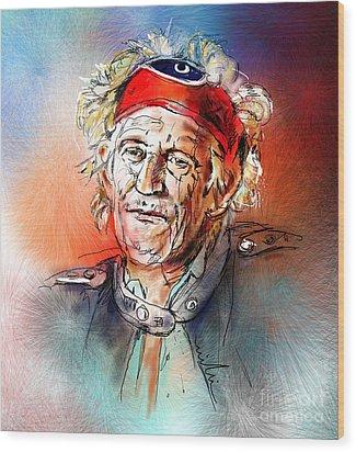 Keith Richards Wood Print by Miki De Goodaboom