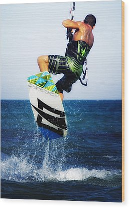 Kitesurfer Wood Print by Stelios Kleanthous