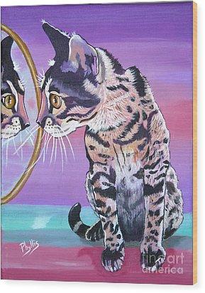 Kitten Image Wood Print by Phyllis Kaltenbach