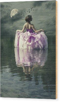 Lady In The Lake Wood Print by Joana Kruse