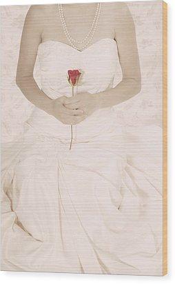 Lady With A Rose Wood Print by Joana Kruse