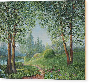Wood Print featuring the painting Lake Steilacoom by Charles Munn