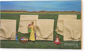Laundry Wood Print by Anne Klar