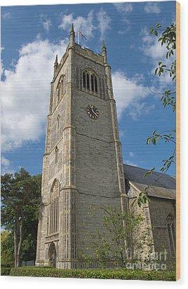 Laxfield Church Tower Wood Print by Ann Horn