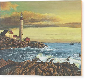 Wood Print featuring the painting light house Nova Scotia by Stuart B Yaeger