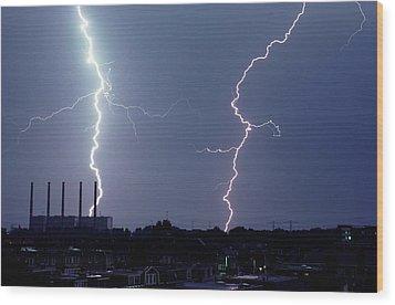 Lightning Over City Wood Print by John Foxx