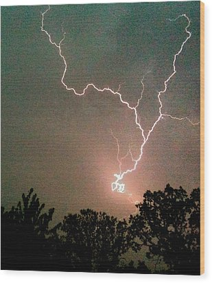 Lightning Strike Wood Print by Kristina Chapman