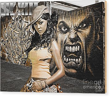 Lil Kim Wood Print by The DigArtisT
