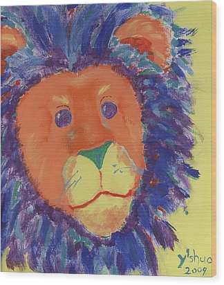 Wood Print featuring the painting Lion by Yshua The Painter