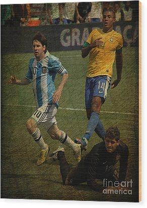 Lionel Messi Breaking Raphael Cabrals Ankles II Wood Print by Lee Dos Santos