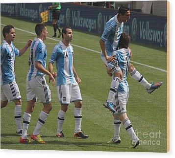 Lionel Messi The Hug Wood Print by Lee Dos Santos