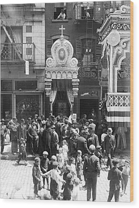 Little Italy, Street Altar To Our Lady Wood Print by Everett