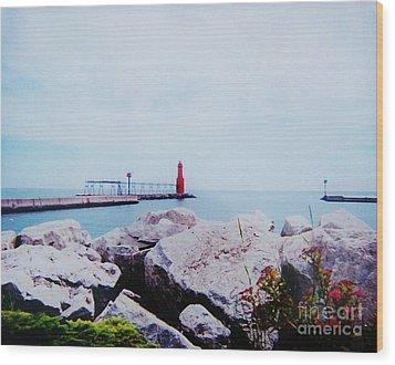 Little Red Lighthouse Wood Print by Marsha Heiken