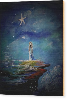 Little Wishes By The Sea Wood Print by Leslie Allen