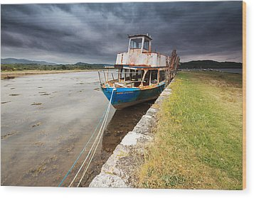 Loch Etive Jetty Old Boat Wood Print by Fiona Messenger