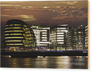 London City Hall At Night Wood Print by Elena Elisseeva