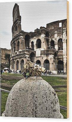 love locks in Rome Wood Print by Joana Kruse