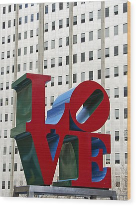 Love Park - Center City - Philadelphia Wood Print by Brendan Reals