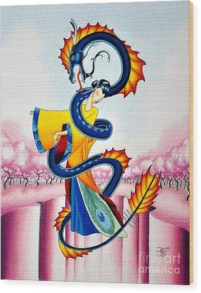 Maiden And Serpent Wood Print by Robert Ball