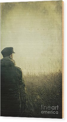 Man Alone In Autumn Field Wood Print by Sandra Cunningham