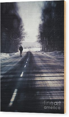 Man Walking On A Rural Winter Road Wood Print by Sandra Cunningham