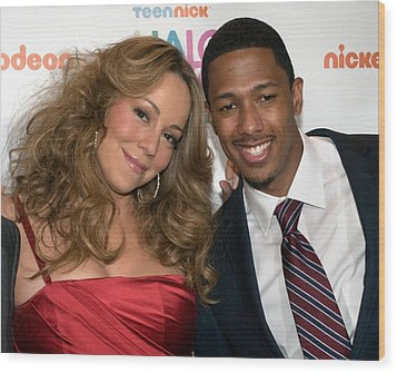 Mariah Carey, Nick Cannon At A Public Wood Print by Everett