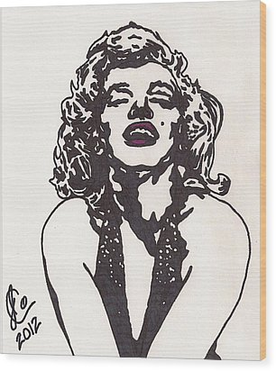 Wood Print featuring the drawing Marilyn Monroe by Jeremiah Colley