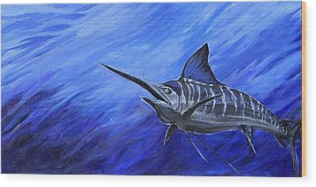 Wood Print featuring the painting Marlin by Jenn Cunningham