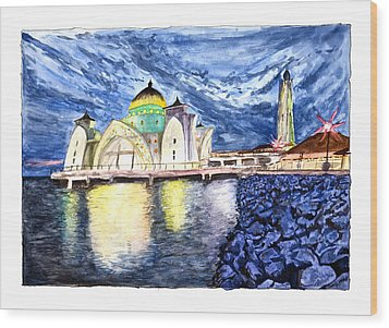 Masjid Selat Melaka Of Malaysia Wood Print