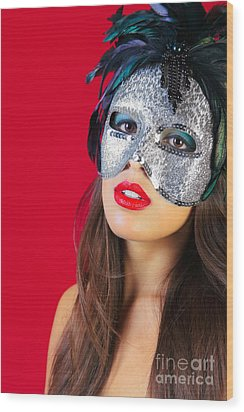 Masquerade Mask Red Background Wood Print by Richard Thomas