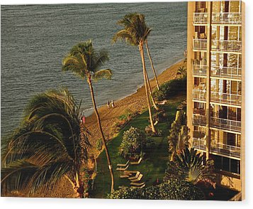 Maui Sunset Wood Print by Kirsten Giving