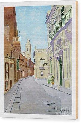 Mdina Streetscape Wood Print