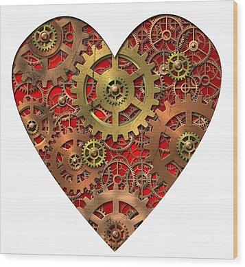 Mechanical Heart Wood Print by Michal Boubin