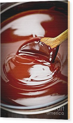 Melted Chocolate And Spoon Wood Print by Elena Elisseeva