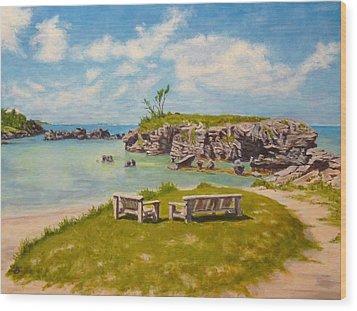 Wood Print featuring the painting Memories Tobacco Bay Bermuda by Joe Bergholm