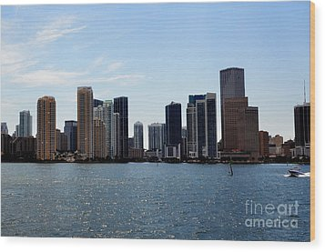 Wood Print featuring the photograph Miami Skyline by Pravine Chester