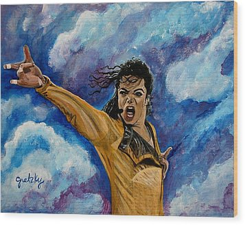 Michael Jackson Wood Print by Paintings by Gretzky