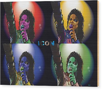 Michael Jackson Icon4 Wood Print by Mike  Haslam