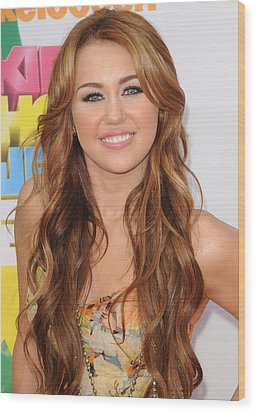 Miley Cyrus At Arrivals Wood Print by Everett