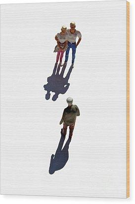 Miniature Figurines Couple Watching Elderly Man Wood Print by Bernard Jaubert