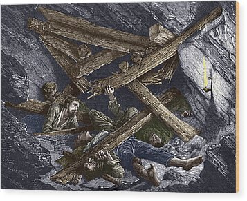 Mining Disaster, 19th Century Wood Print by Sheila Terry