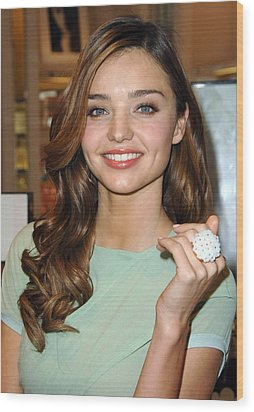 Miranda Kerr At In-store Appearance Wood Print by Everett