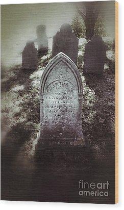 Misty Graveyard Wood Print by Jill Battaglia