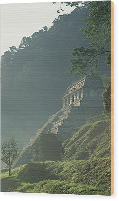 Misty View Of The Temple Wood Print by Kenneth Garrett