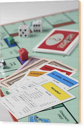 Monopoly Board Game Wood Print by Tek Image