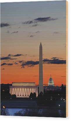 Monuments At Sunrise Wood Print by Metro DC Photography