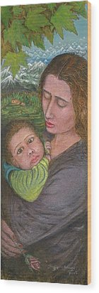 Mother And Child Wood Print by Shafiq-ur- Rehman