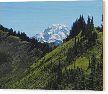 Mount Baker From The Skyline Divide Wood Print by Karen Molenaar Terrell