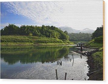 Mountain And Lake Wood Print by Kanoksak Detboon